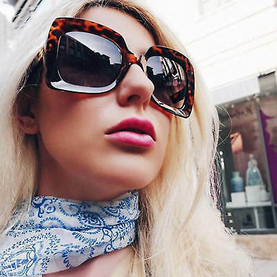 Large Oversized Square Sunglasses Gradient Lens Thick Retro Frame Women Fashion