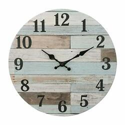 Wall Clock 14 Blue Wooden Style Shabby Chic Rustic Coastal Beach House Nautical