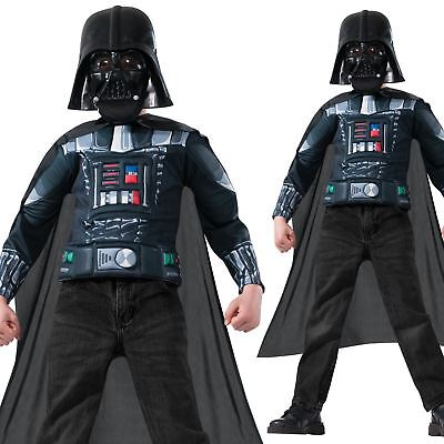 Child Deluxe Darth Vader Paded Top Mask Cape Star Wars Fancy Dress Costume