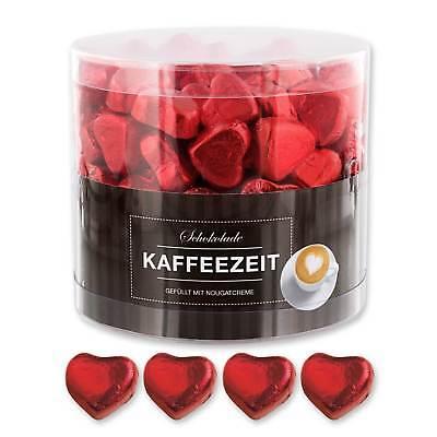 ++ Günthart 150 rote Schokoladen Herzen mit Nougatfüllung | Nougatcreme Kaffeeze ()