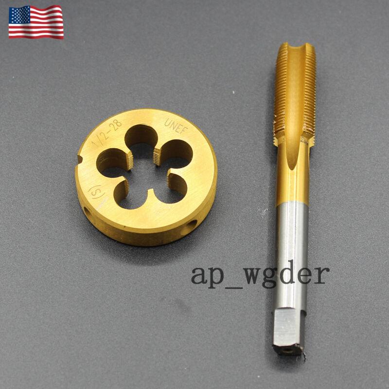 """1/2""""-28 Tap & Die Set Titanium Coated High Quality (1/2"""" x 28) 22LR 223 5.56 9m"""