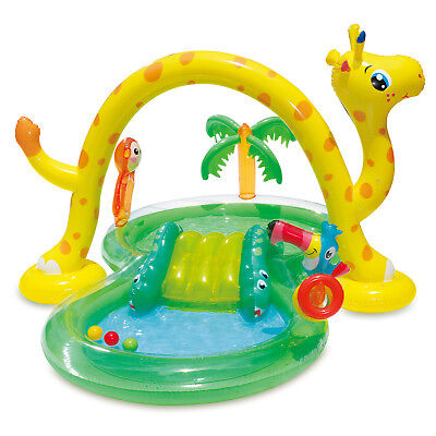 Summer Waves Inflatable Jungle Animal Kiddie Swimming Pool Play Center w/ Slide