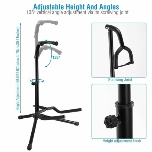 Floor Guitar Stand Holder Folding Tripod Rack for Electric Acoustic Bass GSH-HD
