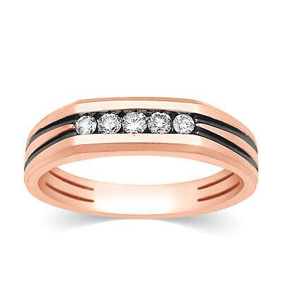 14k Rose Gold Diamond Mens Wedding Band 5 Stone Engagement Ring 0.30 Ct