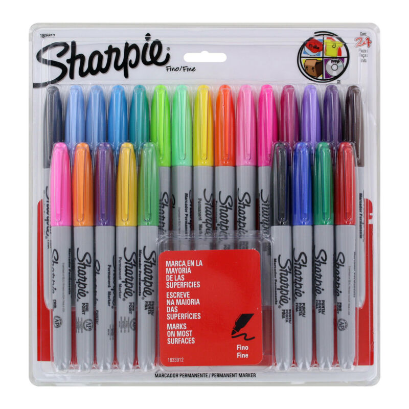 Sharpie Permanent Marker Fine Point Assorted Colors 24-Count (Spanish Packaging)