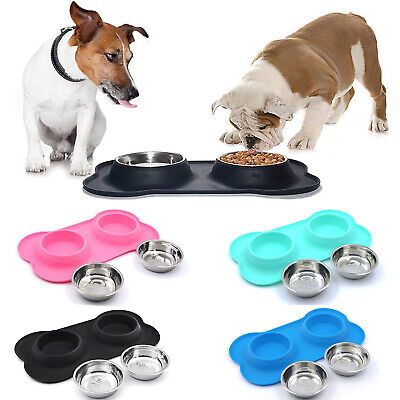 Double Dog Cat Food Bowls Set Pet Feeder With No Spill Non Skid Silicone Mat No Spill Dog Bowl