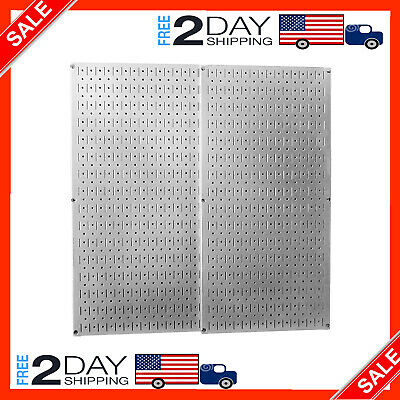 2 Pack Metal Wall Pegboard Peg Board Panel Organizer Shelf Display Tools Garage