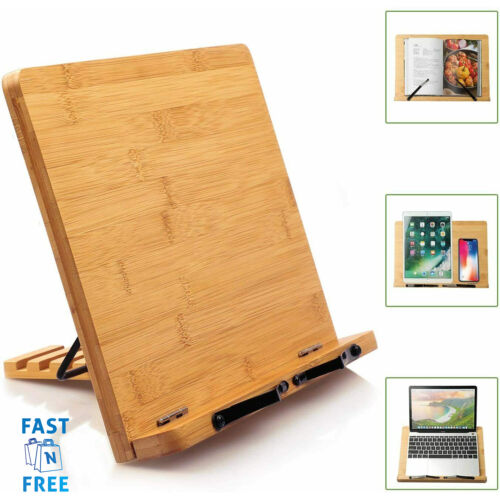 Book Holder Stand Bamboo Portable Adjustable Desk Reading Cookbook Bookstand