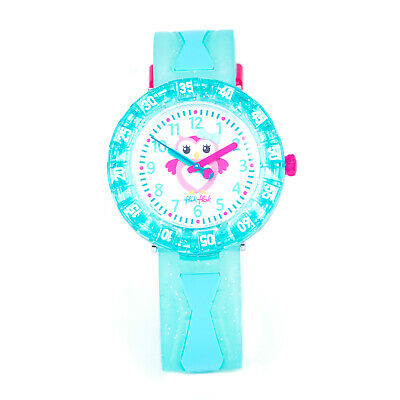 Swatch GET MINTY FCSP059 Kid's Pink Owl Dial Design Green Blue Strap Watch
