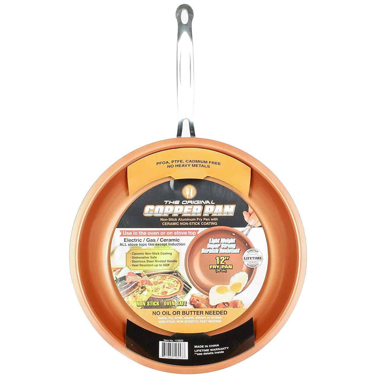 Round Nonstick Fry Pan 12 In. Copper Aluminum Durable Stainl