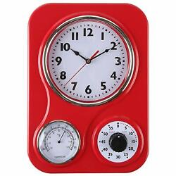 Lily's Home Retro Kitchen Wall Clock, with a Thermometer and 60-Minute Timer Red
