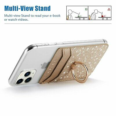 Cell Phone Card Holder Pocket With Ring Stand Adhesive Sticker Back Case Cover