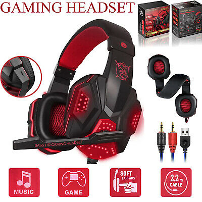 For Nintendo PC XBOX One PS4 Wired Gaming Headset Stereo Surround Mic Headphones
