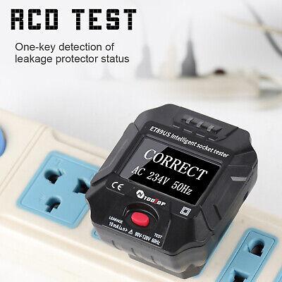 Et89 Socket Tester Digital Display Plug In Electric Fault Checker 90-120v G4w6