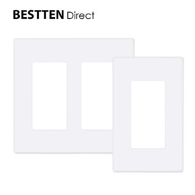 BESTTEN UL 1-2 Gang Screwless Wall Plate Outlet Cover USWP2S Snow-White Series (2 Gang Outlet Covers)