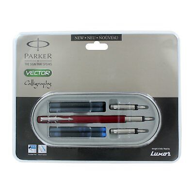 Parker Vector Standard Calligraphy CT Fountain Pen + Ink_Red