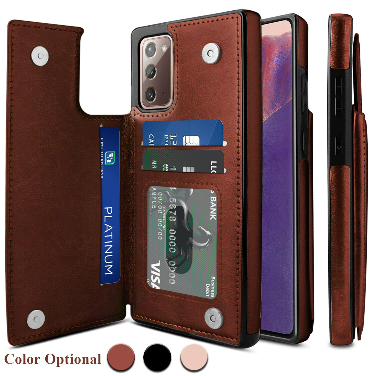 Leather Zipper Back Wallet Case for Samsung Galaxy S8,Yobby Samsung Galaxy S8 Slim Black Case with Card Holder,Shockproof Protective Bumper Stand Magnetic Closure Cover