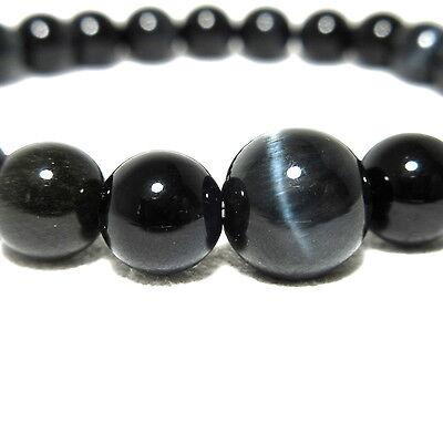 Blue Tiger Eye 8mm Beads Bracelet Zen Cool Handmade in Kyoto Japan UDA44