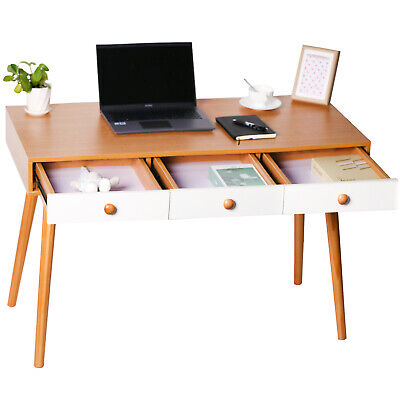 Computer Desk Pc Laptop Writing Table Study Workstation Home W Drawers Shelf