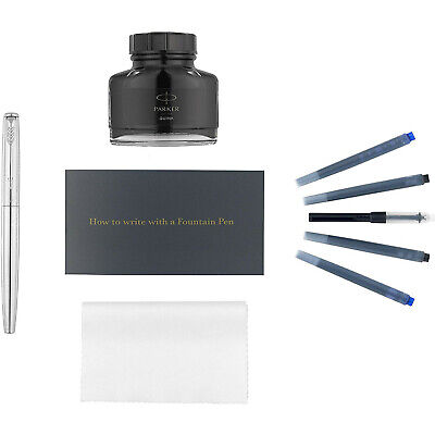 Parker Jotter Fountain Pen Kit, Stainless Steel with Chrome Trim, Ink Bottle