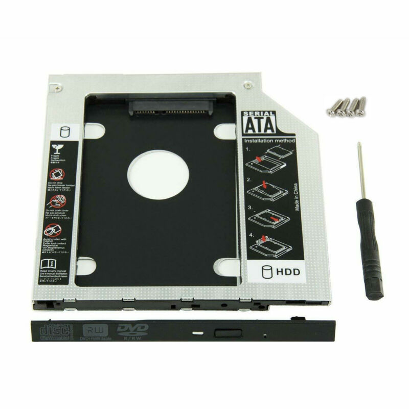 NEW 9.5mm Universal SATA 2nd HDD SSD Hard Drive Caddy for CD/DVD-ROM Optical Bay