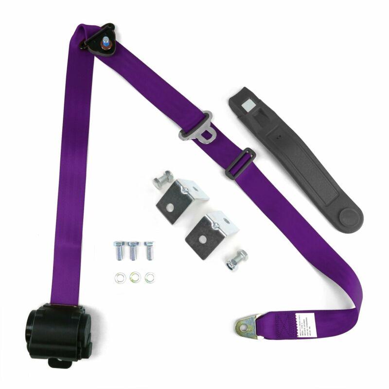 3Pt Retractable Purple Seat Belt W/ Mounting Brackets Standard Buckle seatbelt