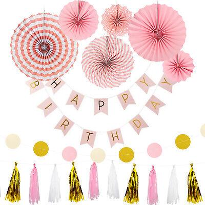Happy Birthday Geburtstag Party Feier Deko Set - Girlanden Fächer Rosa Gold Mix ()