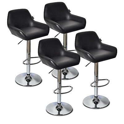 Set Of 4 Bar Stools Leather Height Adjustable Swivel Kitchen Pub Dining Chairs (4 Backless Swivel Stools)