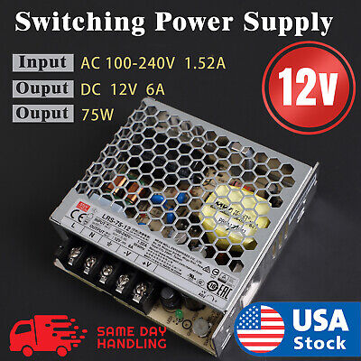 Industrial Power Supply 75w 12v6a Mean Well Rs-75-12