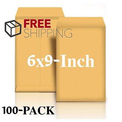 Mailing Envelopes Peel Seal 6x9-inch Catalog No Moisture Brown Kraft 100-pack