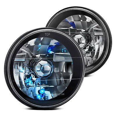 "For Ford F-150 75-79 Lumen 87-1001115 7"" Round Black Diamond Crystal Headlights"