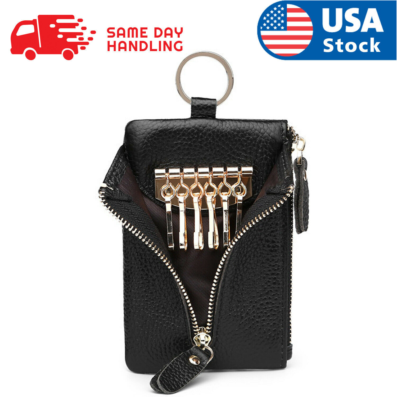 Genuine Leather Car Key Chain Ring Keys Holder Pouch Case Wallet Organizer Bag Clothing, Shoes & Accessories
