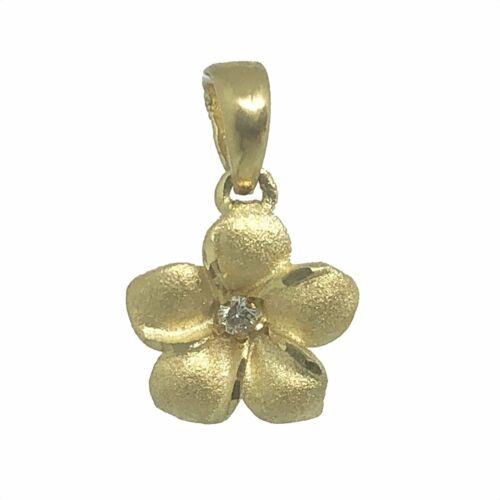 Hawaiian Heirloom Jewelry 14k Gold Small Plumeria with Diamond Pendant