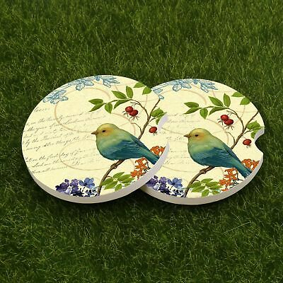- 2 Pack Car Coasters Car Bird Design Absorbent Stone Car Cup Holder for Drinks