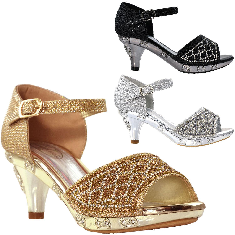 6f5919b2005 Details about Kids Sandals Low Heel Girl Dress Shoes Open Toe Rhinestone  Glitter * RUN SMALL *