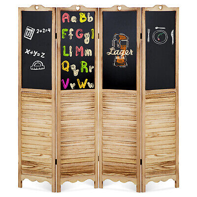 Room Divider 4 Panel Folding Screen With Wipeable Chalkboard Partition Wood Furniture
