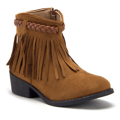 Little Girls' Ankle High Faux Suede Fringe Booties Western Cowboy Cowgirl - Girl Cowgirl Boots
