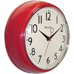 Westclox 32042R Retro 1950 Extra Thick Round Wall Clock, Red, 9.5