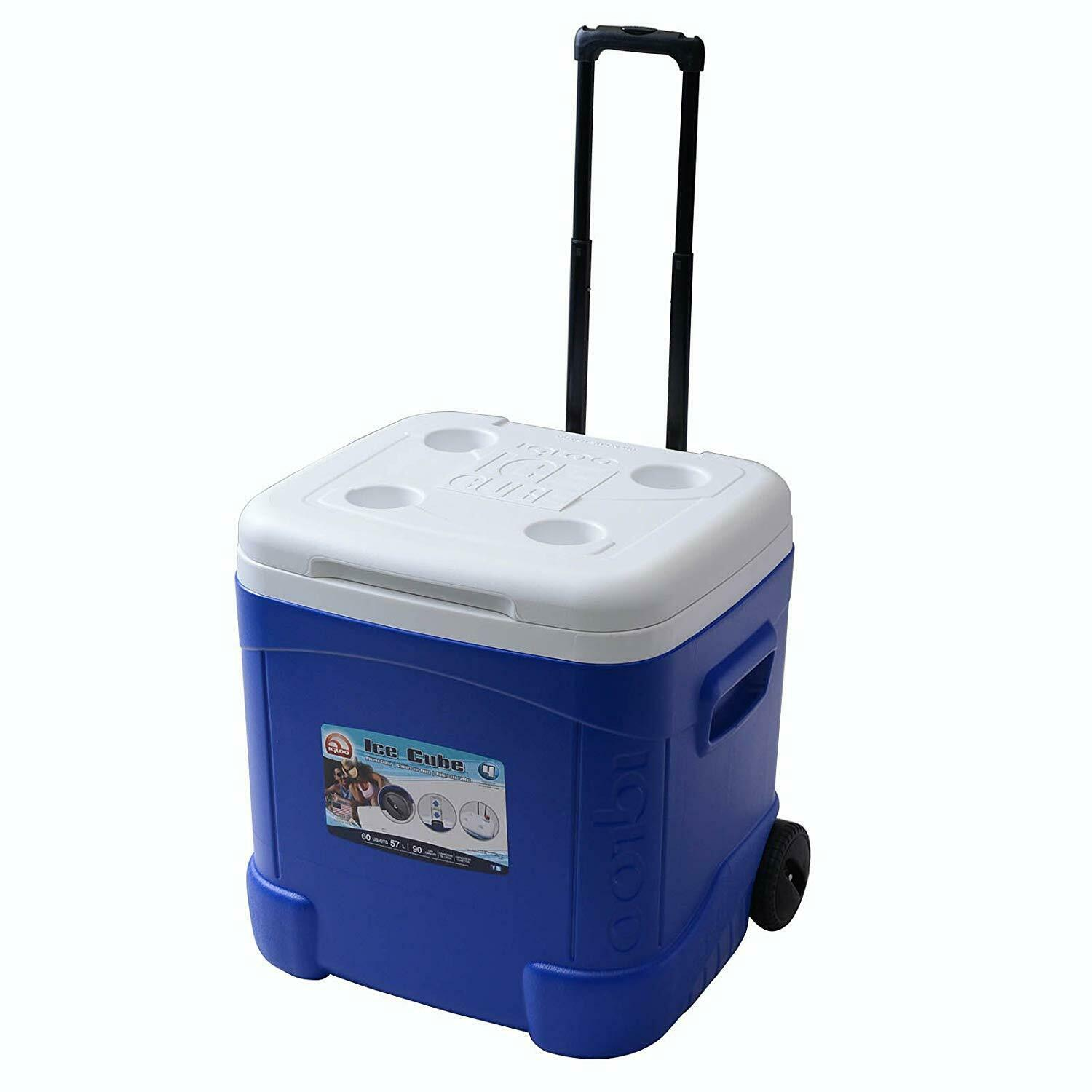 Cooler with Wheels Ice Bin Beer Food Camping RV Vacation Che
