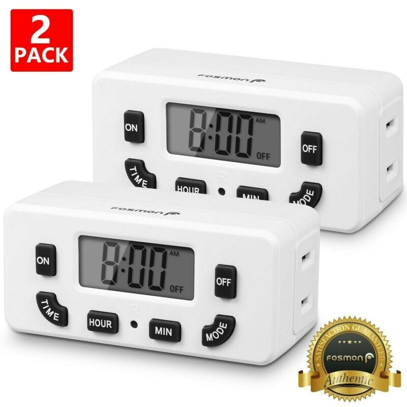 2x Digital LCD Clock Timer Outlet Plug In Switch Electric 24 Hour Programmable