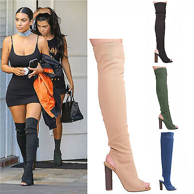 Ladies Womens Thigh Block High Heel Peep Toe Knit Stretch Over The Knee Boots  Heel Knee High Stretch Boots