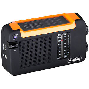 VonHaus - Solar Powered + Dynamo Wind Up Rechargeable AM FM Radio + USB Port