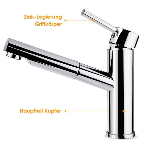 Ausziehbar Küchenarmatur mit Brause Spültisch Armatur Küche Wasserhahn Einhebel