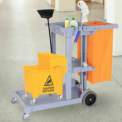 Janitorial Cleaning Cart Rolling Janitor Uitility Cart W 3 Shelves Vinyl Bag