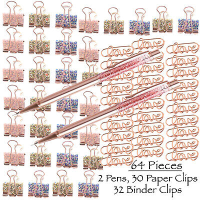 Rose Gold Stationery- Love Paper Clips Binder Clamps Black Ink Ballpoint Pens