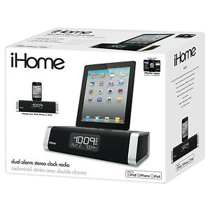 ihome id45 ipad iphone 4 ipod app enhanced clock fm radio. Black Bedroom Furniture Sets. Home Design Ideas