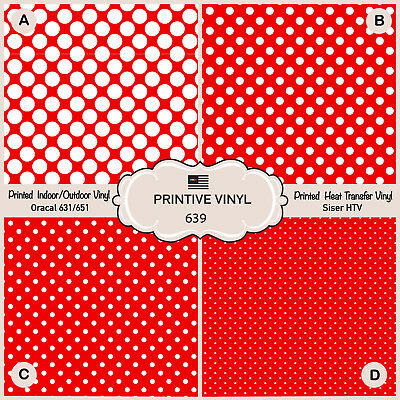- Polkadots Red Background Pattern Printed Siser HTV, Adhesive Craft Vinyl- 639