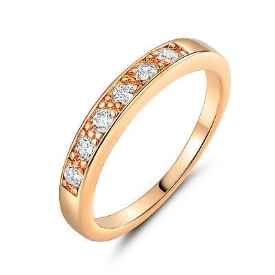 Channel Diamond Inlay Slim Band 18K Yellow Gold Filled Women Lady Wedding Rings 18k Gold Ladys Wedding Band