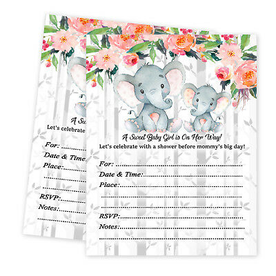 Girl Baby Shower Invitations Girl Elephant Decoration Party Invite Jungle Qty 30 - Elephant Baby Shower Decorations