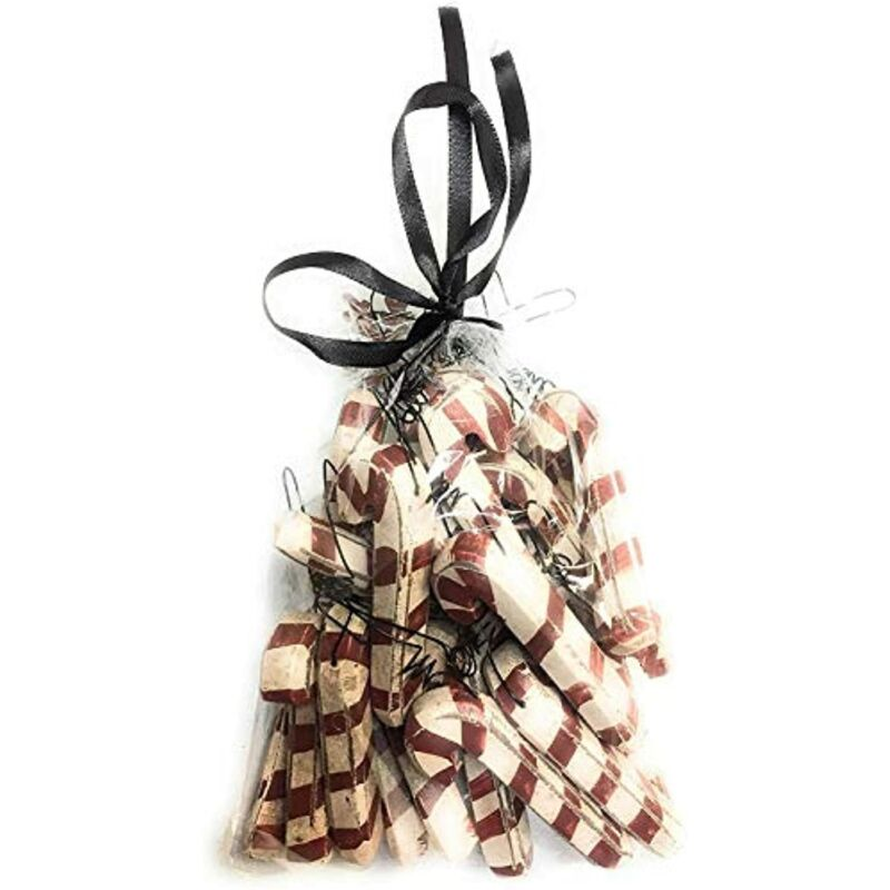Primitive Style Rustic Farmhouse Wooden Christmas Candy Cane Ornament Set of 24